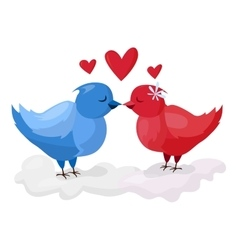 Doves couple with hearts vector