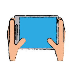 drawing hands holds tablet touchscreen trendy vector image