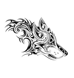 elegant tattoo of the wolf vector image