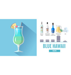 Flat style cocktail blue hawaii menu design vector