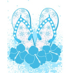 flip flops and hibiscus flowers vector image