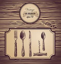 Hand painted tableware vintage background vector image