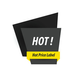 Hot price label black yellow vector