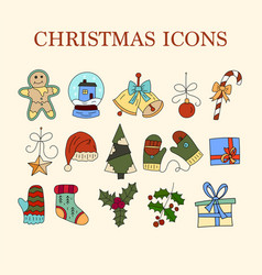 icon set with color doodle symbols of vector image vector image