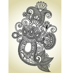 line art ornate flower design vector image vector image