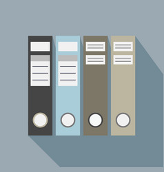 office file folders icons with long shadow vector image vector image