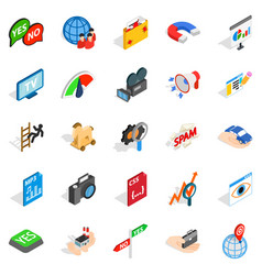 Online cinema icons set isometric style vector