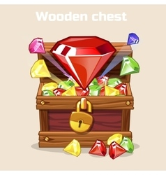 Opened antique treasure chest with diamonds vector image vector image