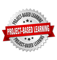 project-based learning round isolated silver badge vector image vector image