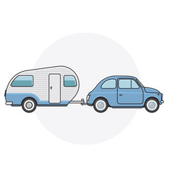 Retro car with camper trailer - travel on vintage vector
