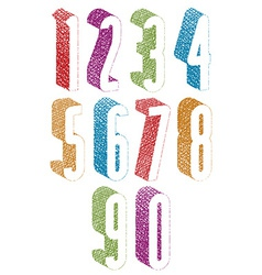 Retro style 3d tall condensed numbers set with vector