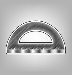 Ruler sign pencil sketch vector