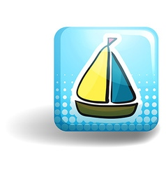 Sailboat on square badge vector