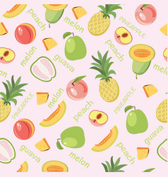 Seamless background of fruits peach guava melon vector