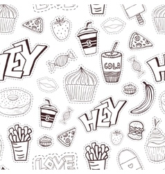 Seamless cartoon pattern with fast food cartoon vector