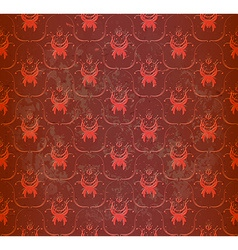 Seamless red wallpaper with floral ornament vector image