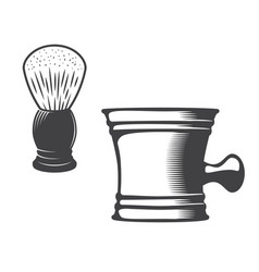 Shaving mug and brush vector