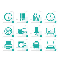 stylized business and office tools icons vector image vector image