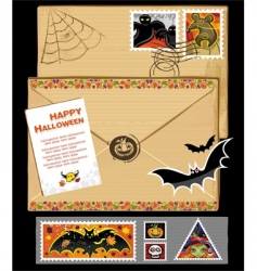 thanksgiving stamps and envelope vector image