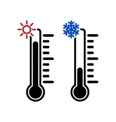 The thermometer icon high and low temperature vector