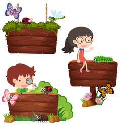 Three wooden signs with kids and bugs vector