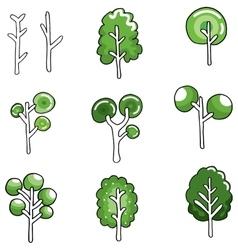 Various green tree in doodles vector