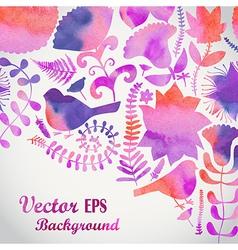 Watercolor floral greeting card vintage retro vector