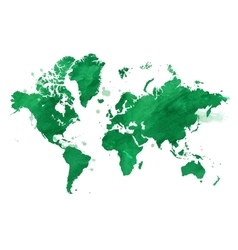 Watercolor green map of the world with a vector