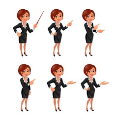 Cartoon business woman presentation set vector image