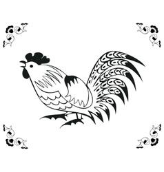 Monochrome cock in a folk style vector