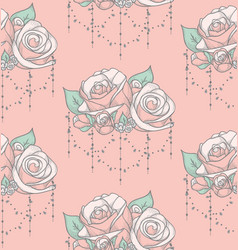 Colorful seamless pattern with roses with vector