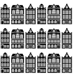 seamless house pattern - dutch amsterdam houses vector image