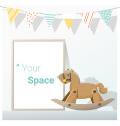 Poster mock up with empty frame and rocking horse vector
