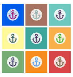 Collection of icons and sea anchor vector