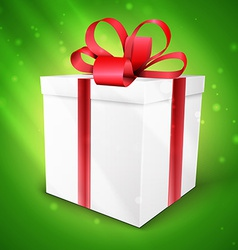 Gift box with bow isolated on green vector