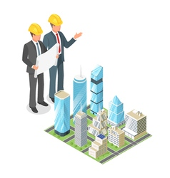 3d isometric concept of businessman or engeneer in vector