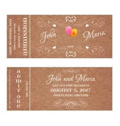 Ticket for Wedding Invitation with air balloon vector image