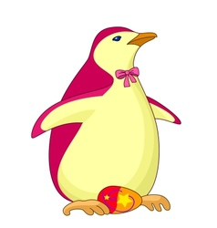 Penguin with easter egg vector