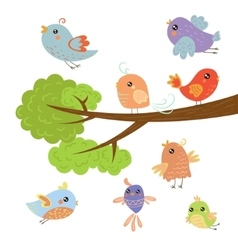 Different cute small birds sitting and flying vector