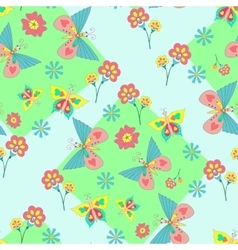 Pattern with vivid flowers and butterflies vector