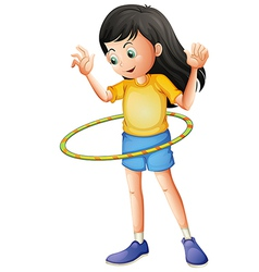 A young girl playing with a hulahoop vector