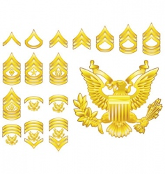 Army rank insignia icons vector