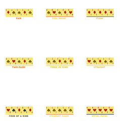 assembly flat icons poker hands vector image