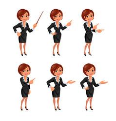 Cartoon business woman presentation set vector