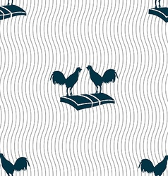 Cock-fights icon sign Seamless pattern with vector image