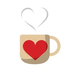 Cup coffee love heart hot vector