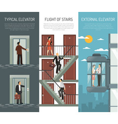 elevator escalator stairs vertical banner set vector image