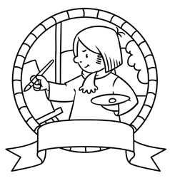 Funny artist or painter coloring book emblem vector