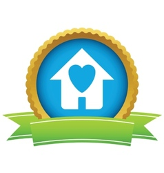 Gold love house logo vector image