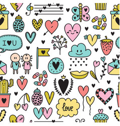 Hand drawn romantic seamless pattern lovely vector